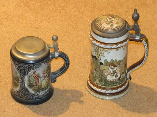 ... Antique German Faience Schrezheim Theresia Erfurt Pewter Beer Stein